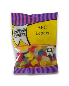 A full case of wholesale sweets, ABC Letters prepacked sweets bags