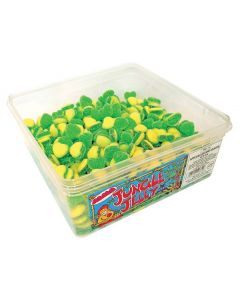 A wholesale tub of apple and custard flavour jelly sweets shaped in hearts