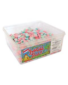A wholesale tub of fizzy bubblegum flavour bottle shaped sweets