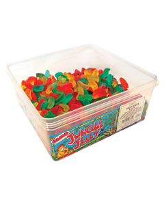 A wholesale tub of fruit flavour jelly sweets in the shape of fruit slices