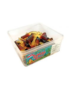 A wholesale tub of Giant jelly sweets shaped like col bottles