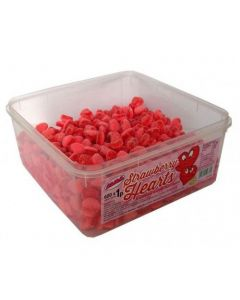 A wholesale tub of strawberry flavour, sugar coated jelly sweets shaped like hearts