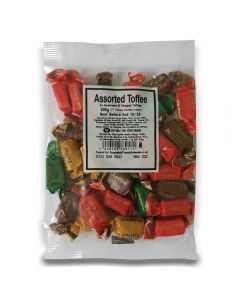 A full case of wholesale sweets, Assorted Toffees bumper bags, prepacked sweets bags