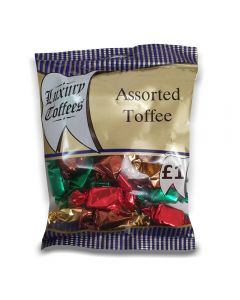 A full case of wholesale sweets, Assorted Toffees prepacked sweets bags