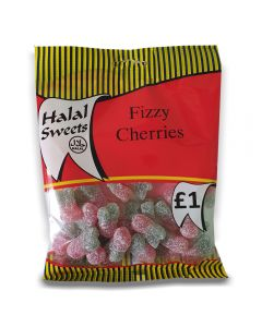 A full case of wholesale sweets, Halal Fizzy Cherries prepacked sweets bags