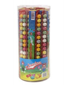 A wholesale sweets jar of fruity bubblegum balls in strips of 16 balls.