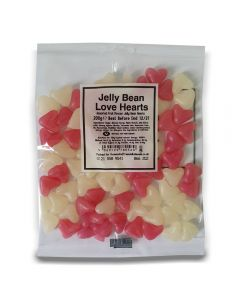A full case of wholesale sweets, Jelly Bean Love Hearts bumper bags, prepacked sweets bags