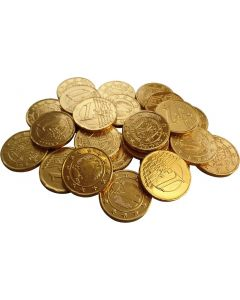 A bulk 1kg bag of wholesale milk chocolate coins