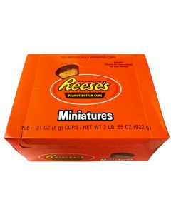 A full box of Reese's miniature peanut butter cups, 105 cups in the box