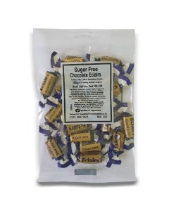 A full case of wholesale sweets, Sugar Free Chocolate Ecalirs bumper bags, prepacked sweets bags