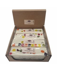 A wholesale case of fruit flavour nougat with fruit pieces inside.