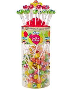 A full jar of Assorted Fruit flavour Lollipops