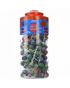 A wholesale jar of assorted colour cherry flavour lollipops that turn your mouth a bright colour!