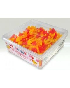 A wholesale sweets tub full of fruit flavour jelly sweets in the shape of chicken feet