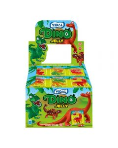 A wholesale case of jelly dinosaur shaped sweets