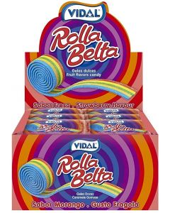 A wholesale case of fizzy rainbow sweets shaped like rolled up belts