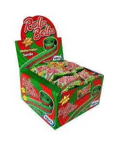A wholesale case of retro fizzy sweets, watermelon flavour rolled up belts