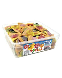 A wholesale tub of jelly sweets shaped like pizzas with a gooey centre