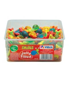 A wholesale tub of jelly sweets shaped like snails with a gooey centre