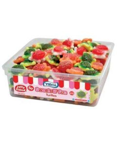 A wholesale tub of jelly filled turtle shaped sweets