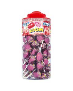 A wholesale jar of cola flavour lollipops with a bubblegum centre