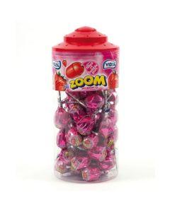 A wholesale jar full of Vidal strawbery lollipops with a bubblegum centre