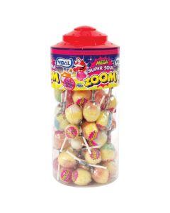 A wholesale jar of Vidal super sour lollies with a bubblegum centre