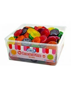 A wholesale tub of Vidal gummy sweets in the shape of smiley faces