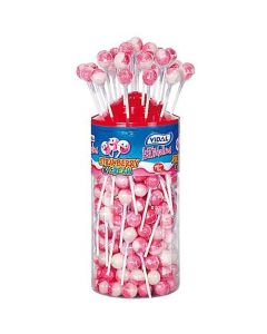 A wholesale jar full of Vidal strawberry and Cream flavour lollipops