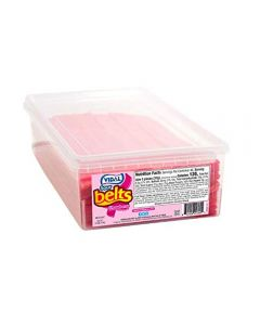 A wholesale tub of fizzy strawberry belts