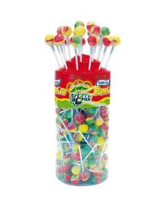 A wholesale jar of traffic light lollipop sweets made by Vidal